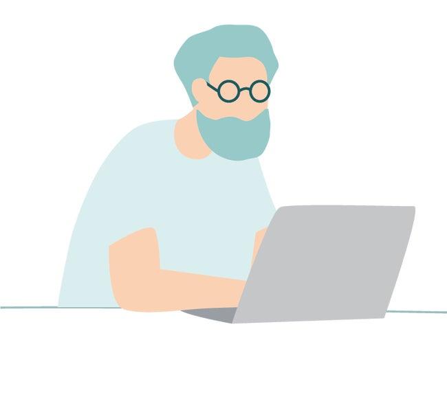 Un homme à l'ordinateur portable