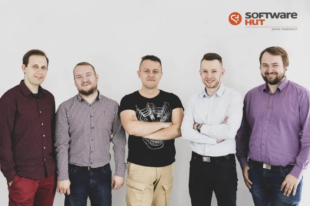 Lecturers from SoftwareHut: Kamil Mijacz, Piotr Tarasiuk, Karol Rogowski, Przemysław Wiszowaty, Łukasz Muszyński