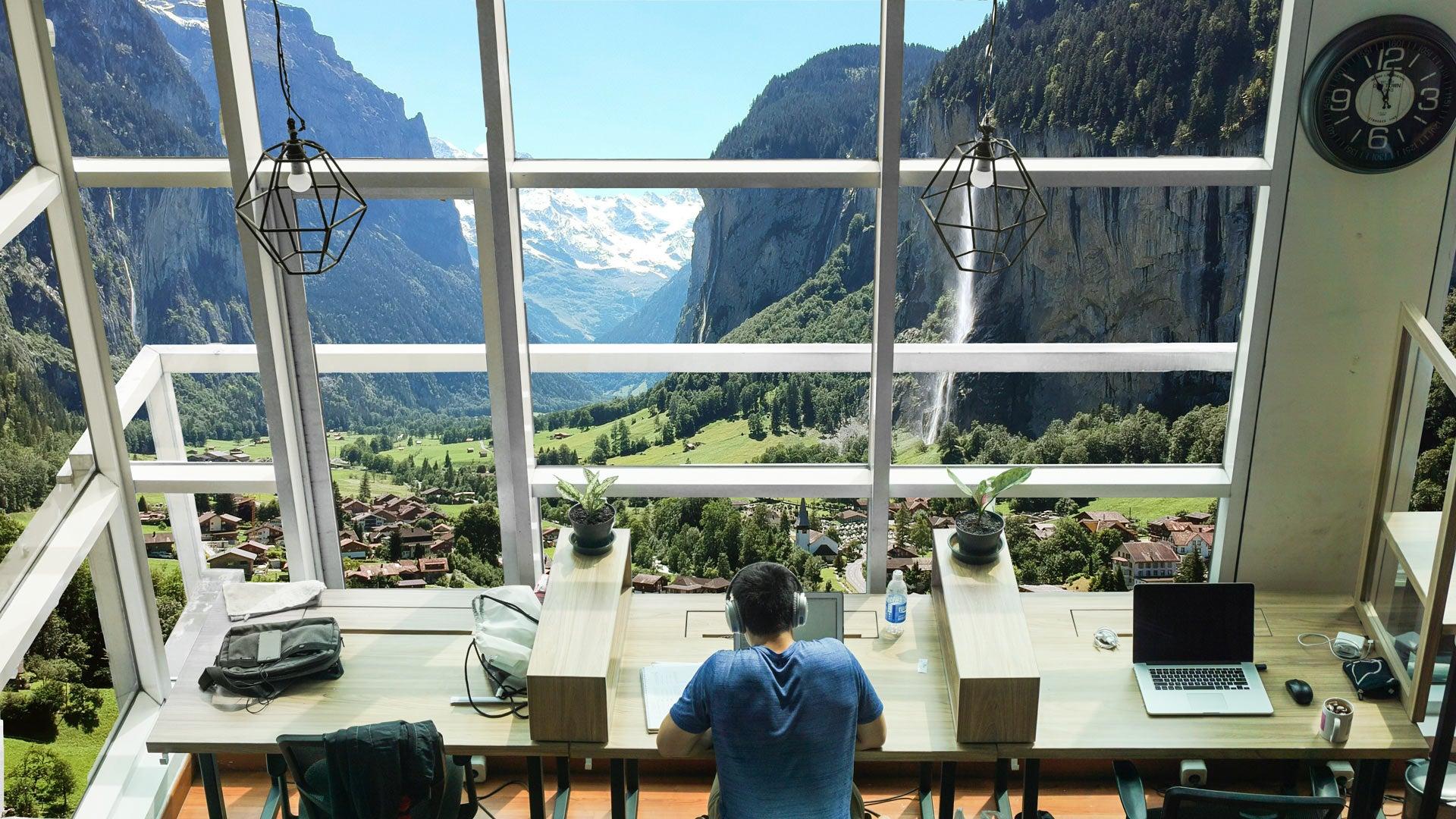 Coworking view in Lauterbrunnen - Jamatu