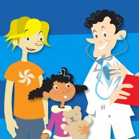 Afbeelding van een arts met twee kinderen