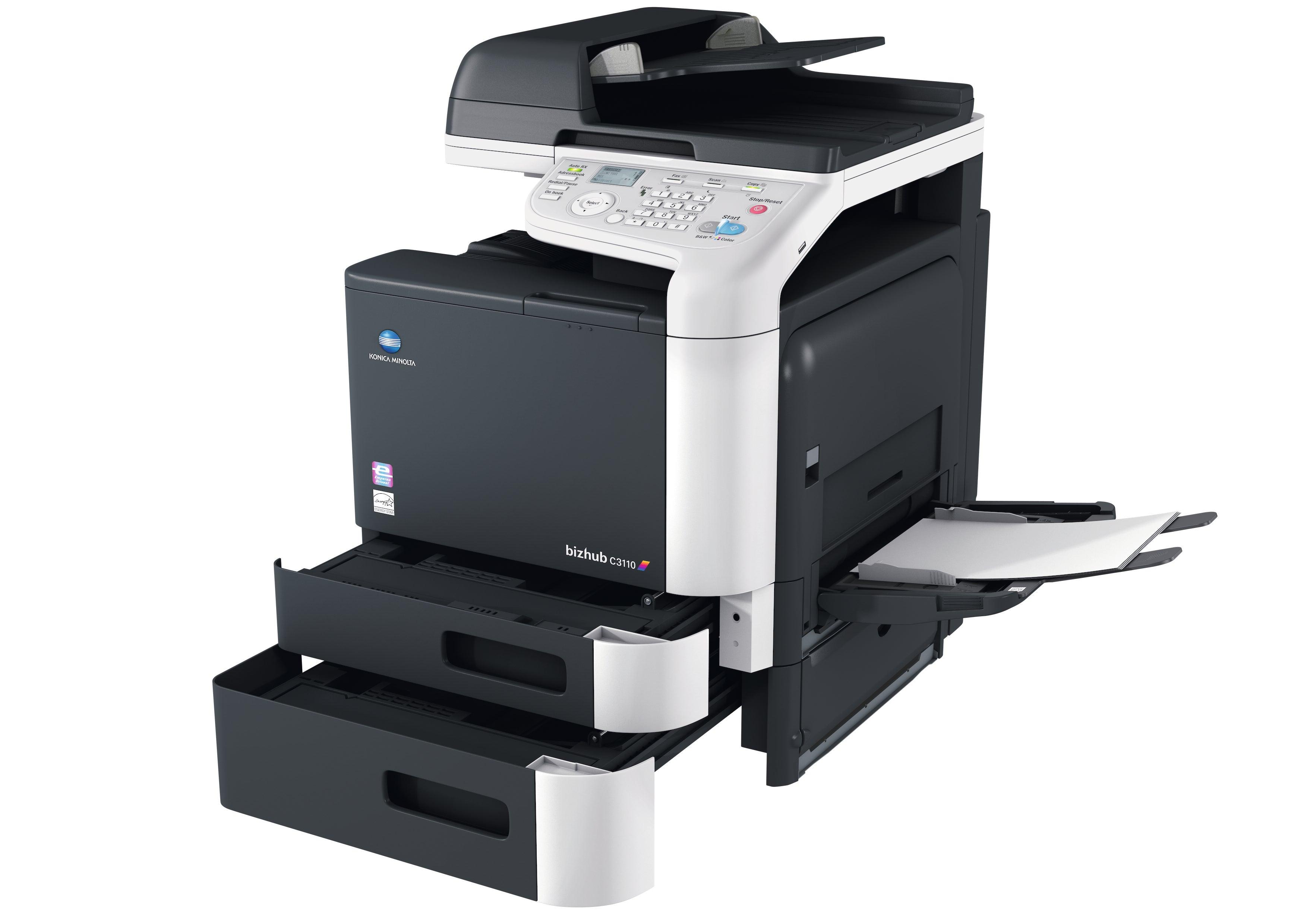 Konica Minolta bizhub c3110 office printer (open paper trays)