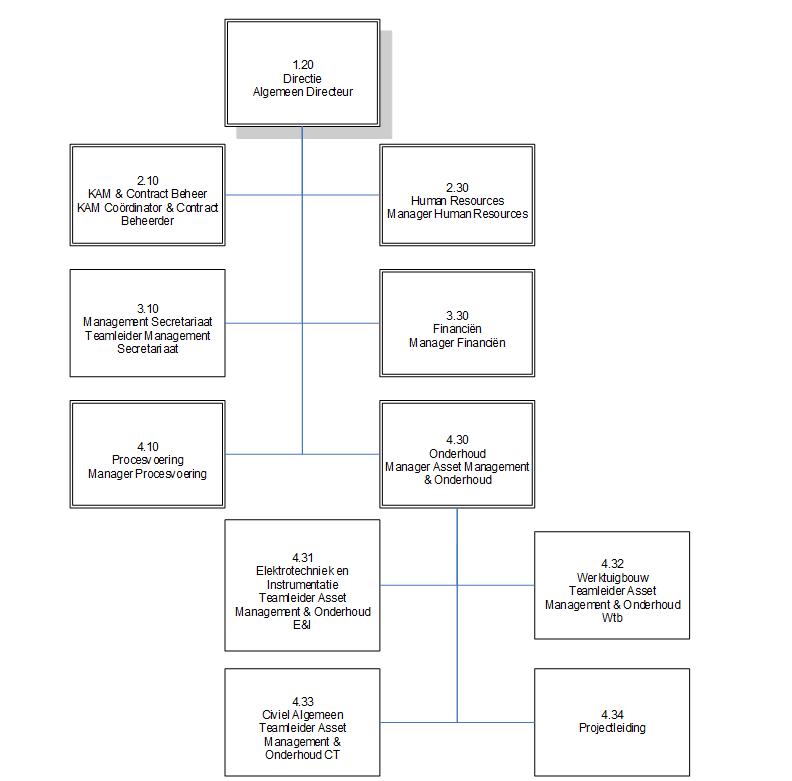 Het organogram van de interne organisatie van Delfluent Services