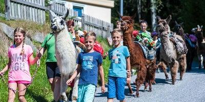 Spaß mit Lamas und Alpakas beim Ferienprogramm © Zell am See-Kaprun Tourismus / Mairitsch