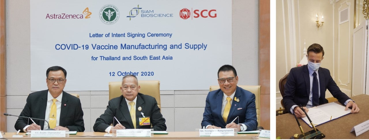 Thai company SCG signing an agreement with AstraZeneca for the manufacture of a coronavirus vaccine in South-East Asia. Image credit: SCG