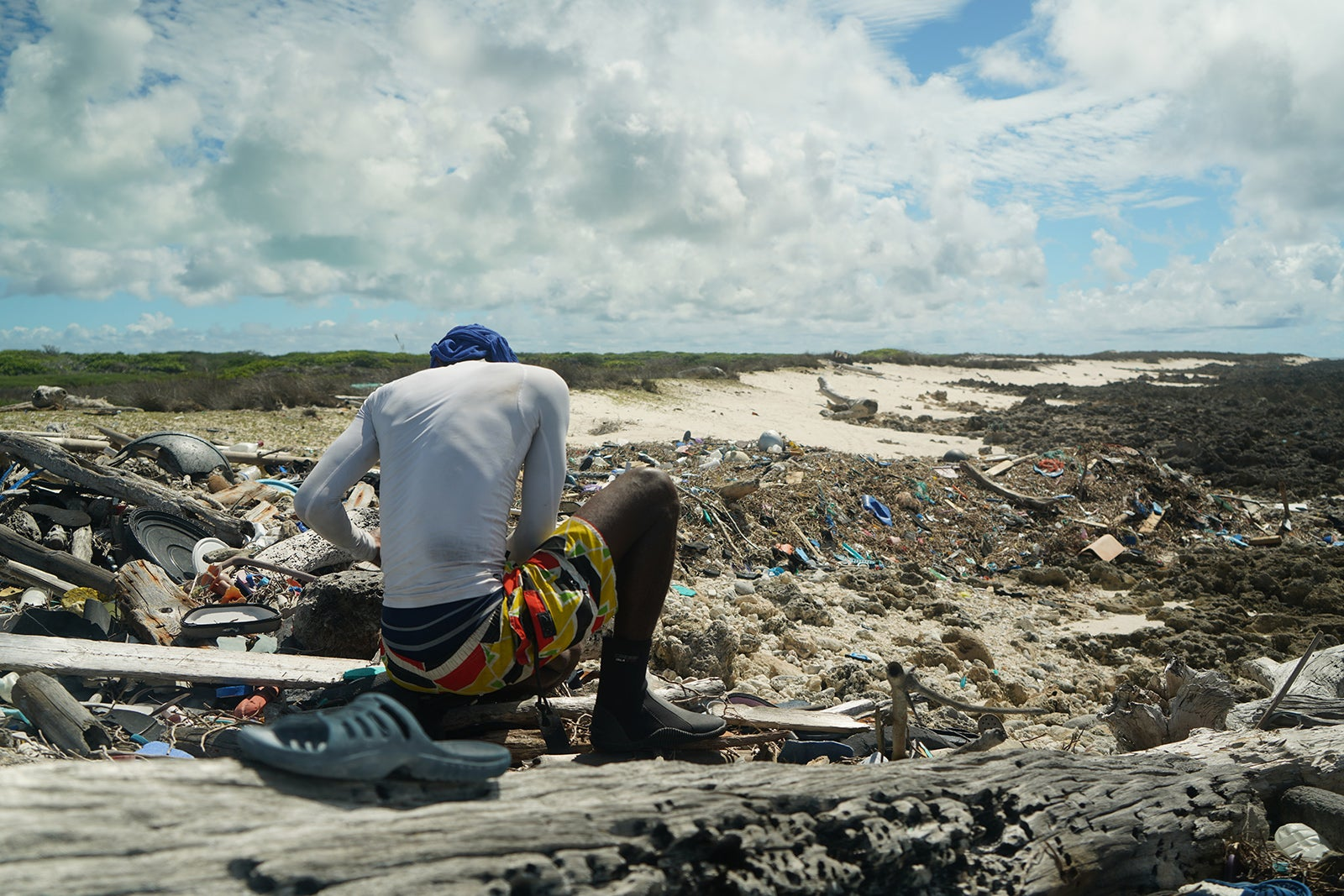 A man involved in the Aldabra clean up.