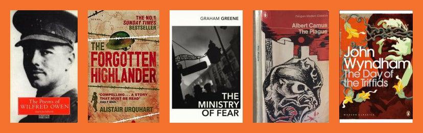 Copyright: Wilfred Owen — Chatto Poetry, The Forgotten Highlander — Little, Brown, Graham Greene — Vintage Publishing, Albert Camus — Penguin Books, John Wyndham — Penguin Books.