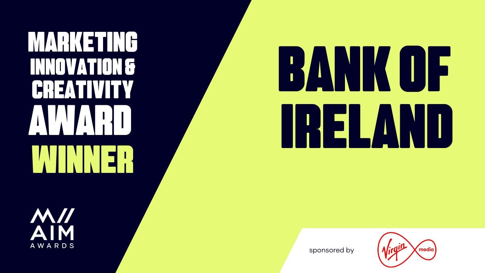 Bank of Ireland Social media asset for winning the marketing innovation and creativity award at the all Ireland marketing awards
