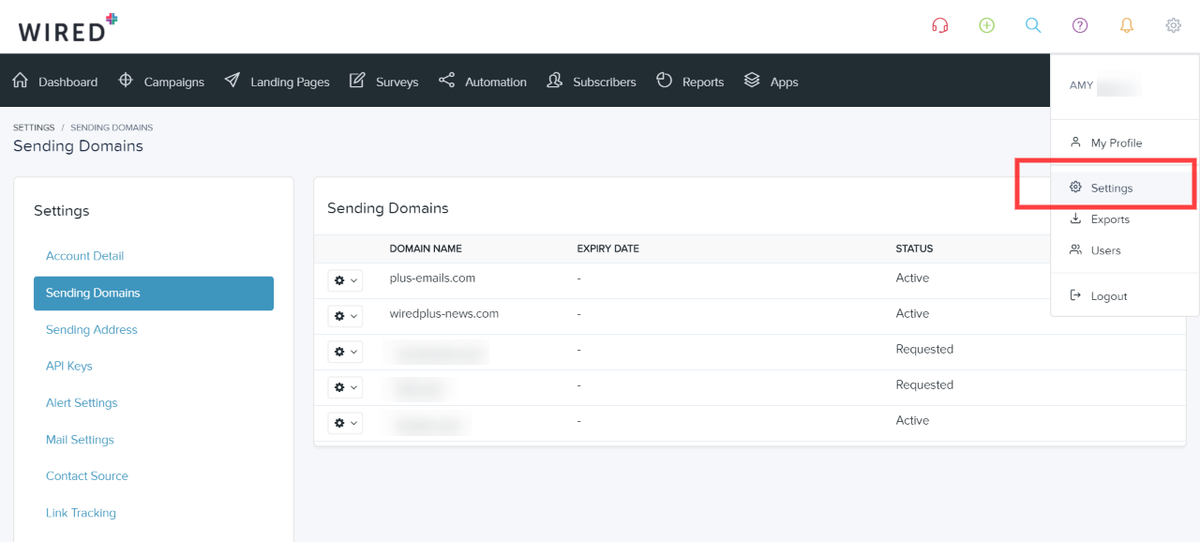 Manage your custom domain in Sending Domains under your account settings