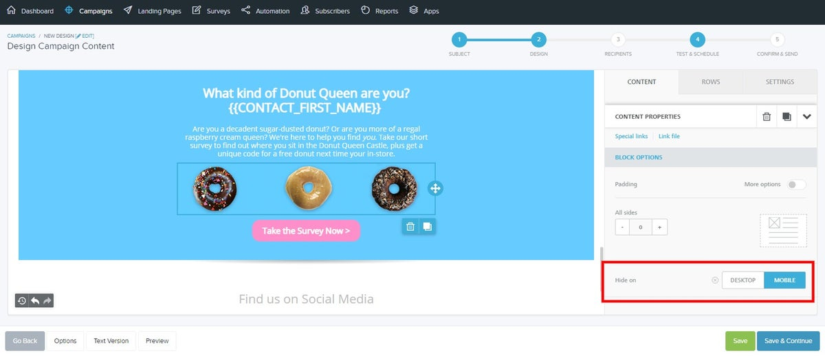 Hide different content blocks on desktop or mobile