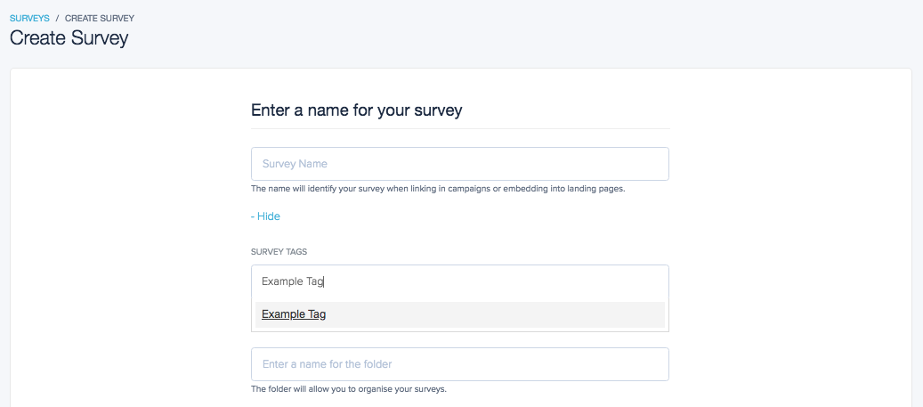 Add tags to your survey