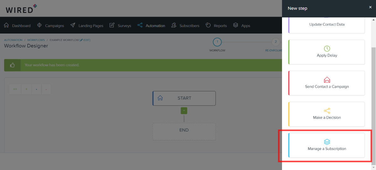 Manage a Subscription workflow step