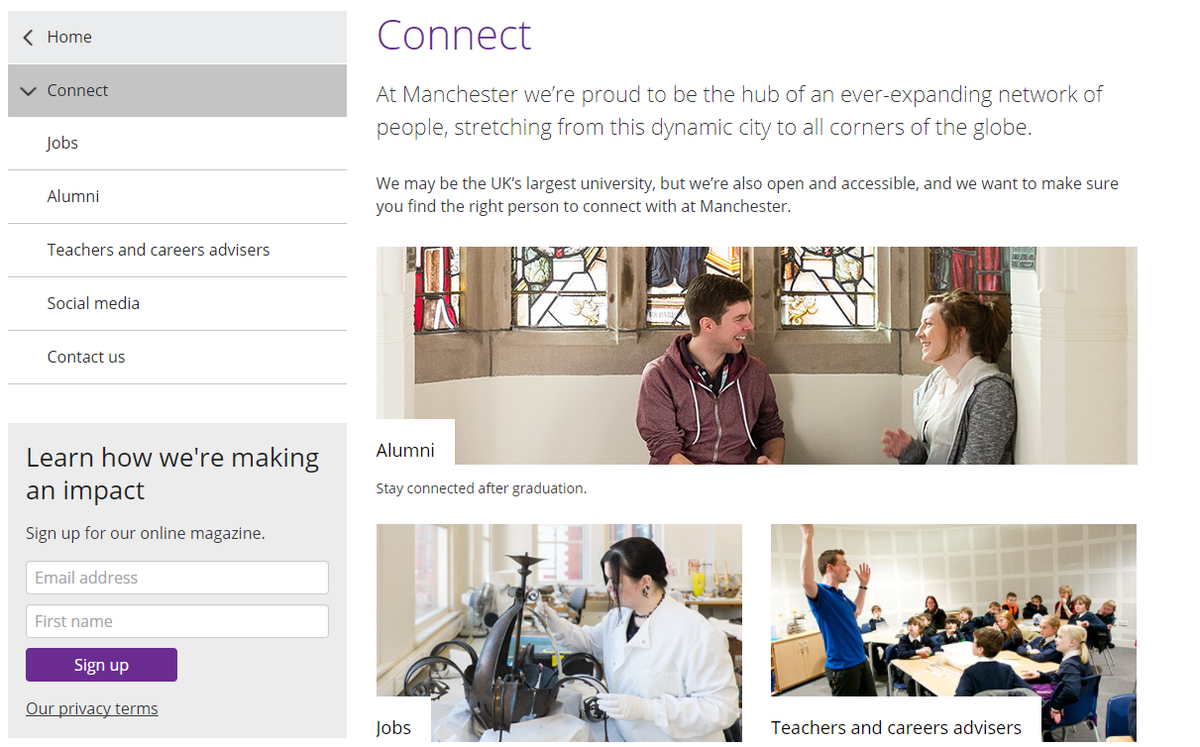 University of Manchester Email Newsletter signup form example