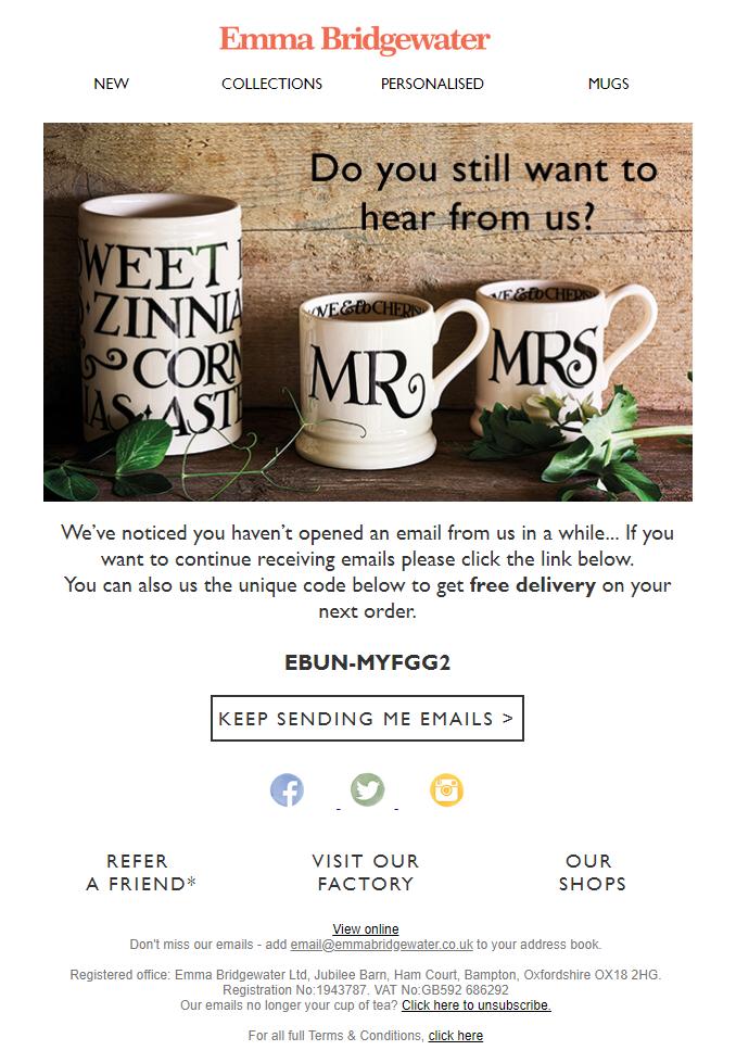 Emma Bridgewater email example