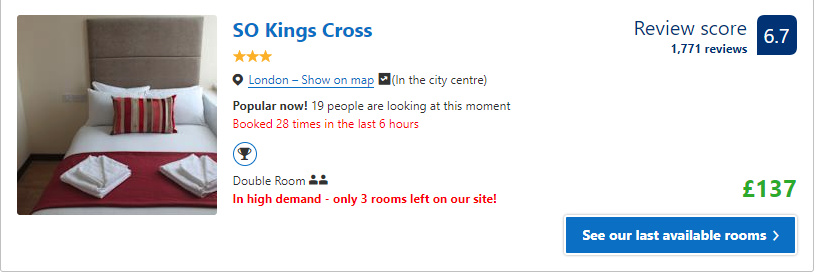 Booking.com nudge theory example