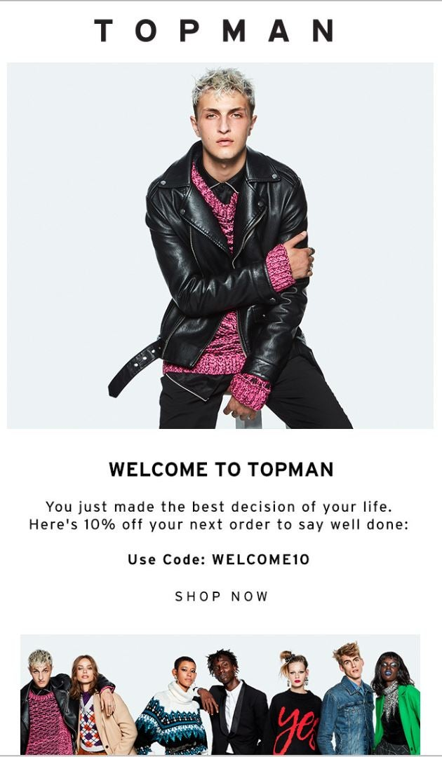 Topman welcome email example
