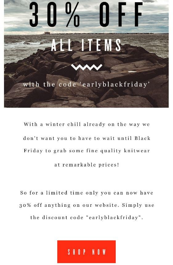 Early Black Friday email example Old Harry