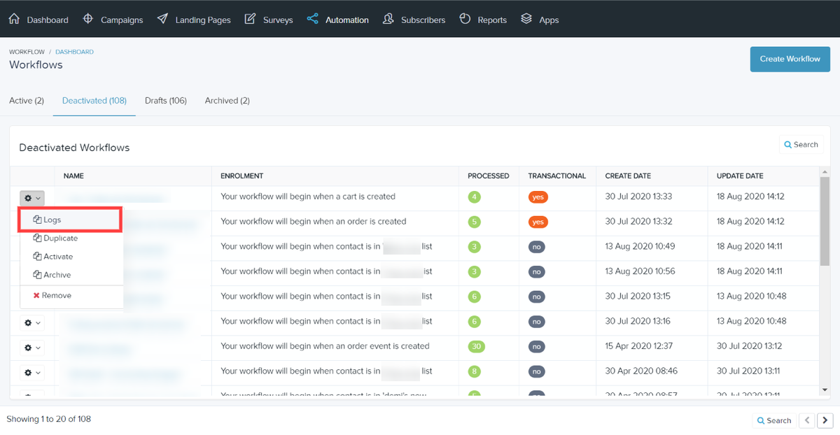 View a deactivated workflow's logs