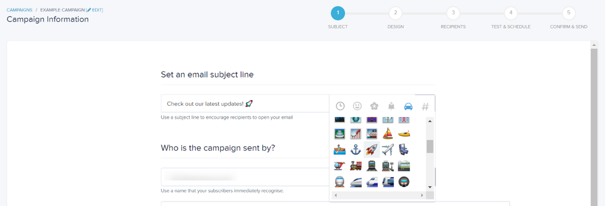 New emoji keyboard for subject lines