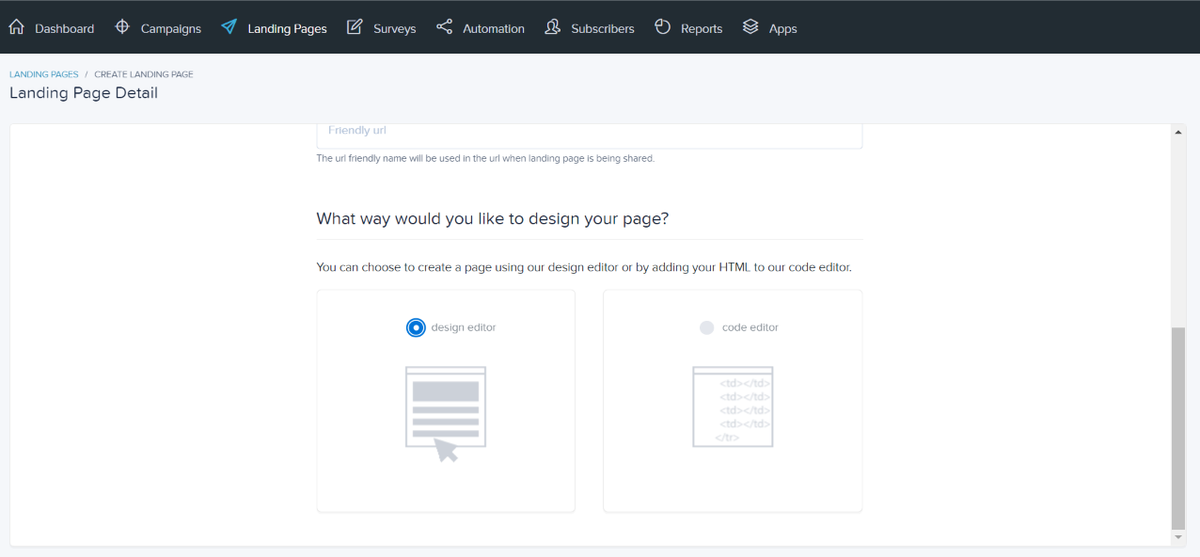 Choose between the design editor and the code editor