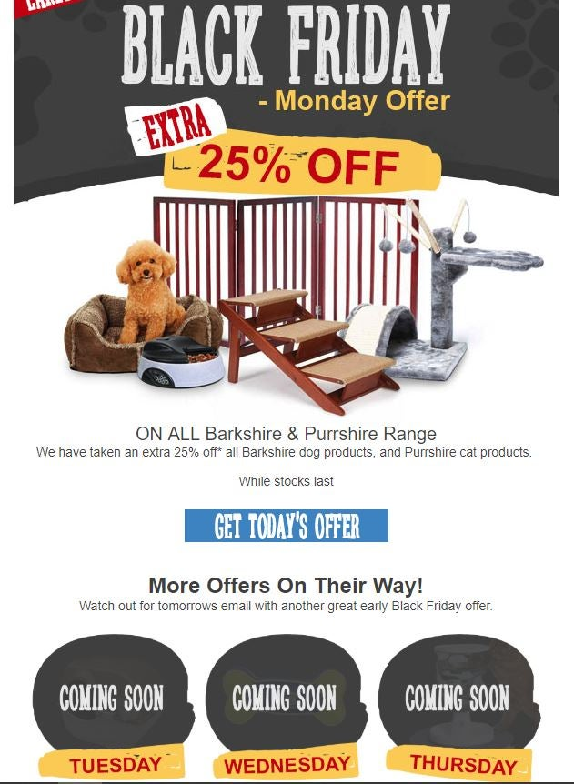 Early Black Friday email example Pet Planet