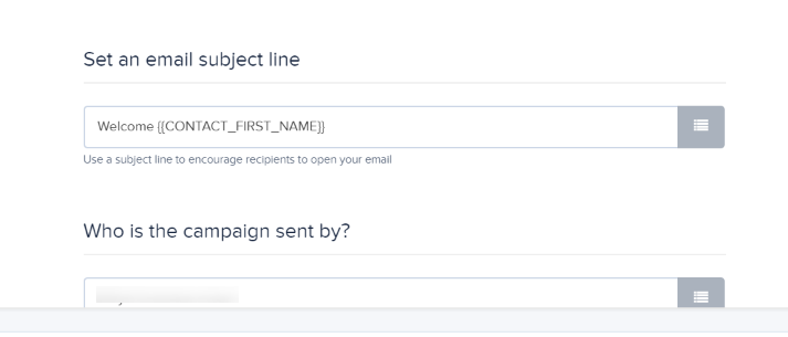 Subject line personalisation example