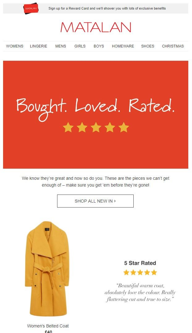 Matalan social proof lead nurturing email example