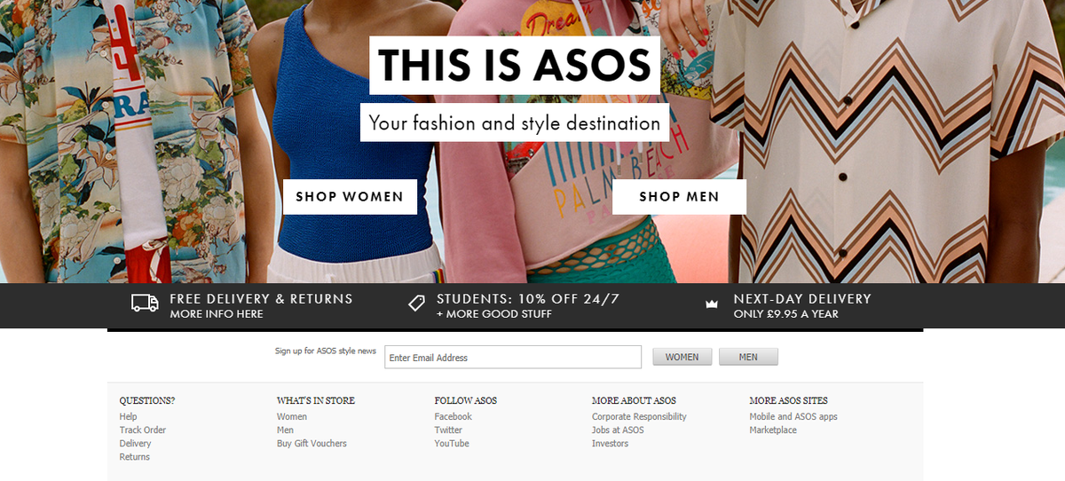 ASOS Email Newsletter signup form example