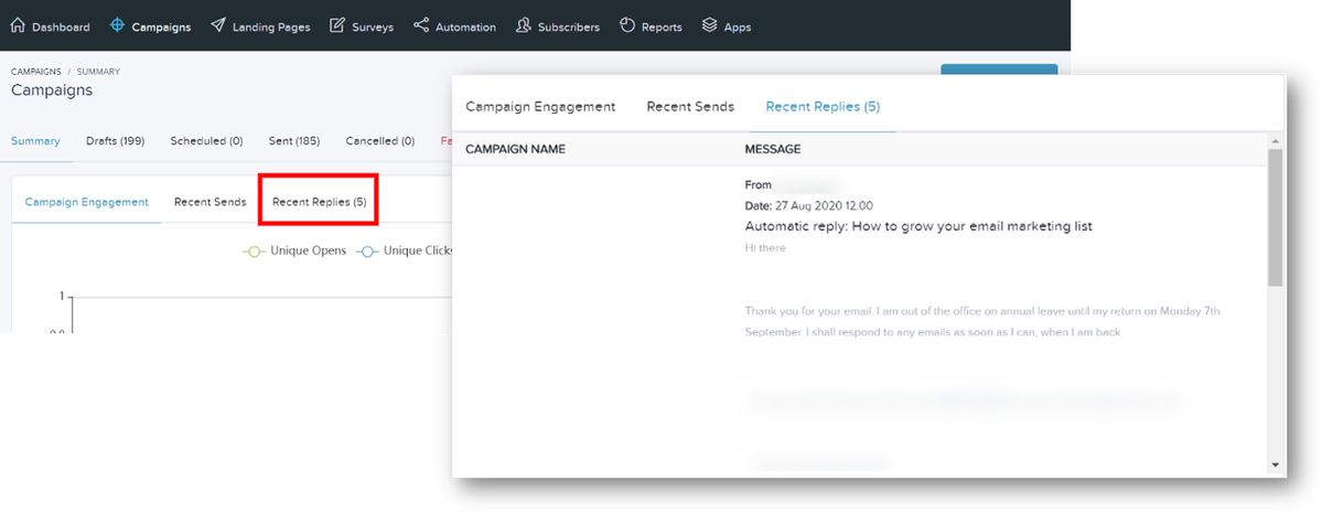Campaigns dashboard - Recent Replies