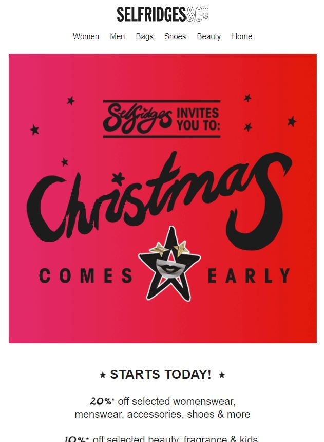 Early Black Friday email example Selfridges