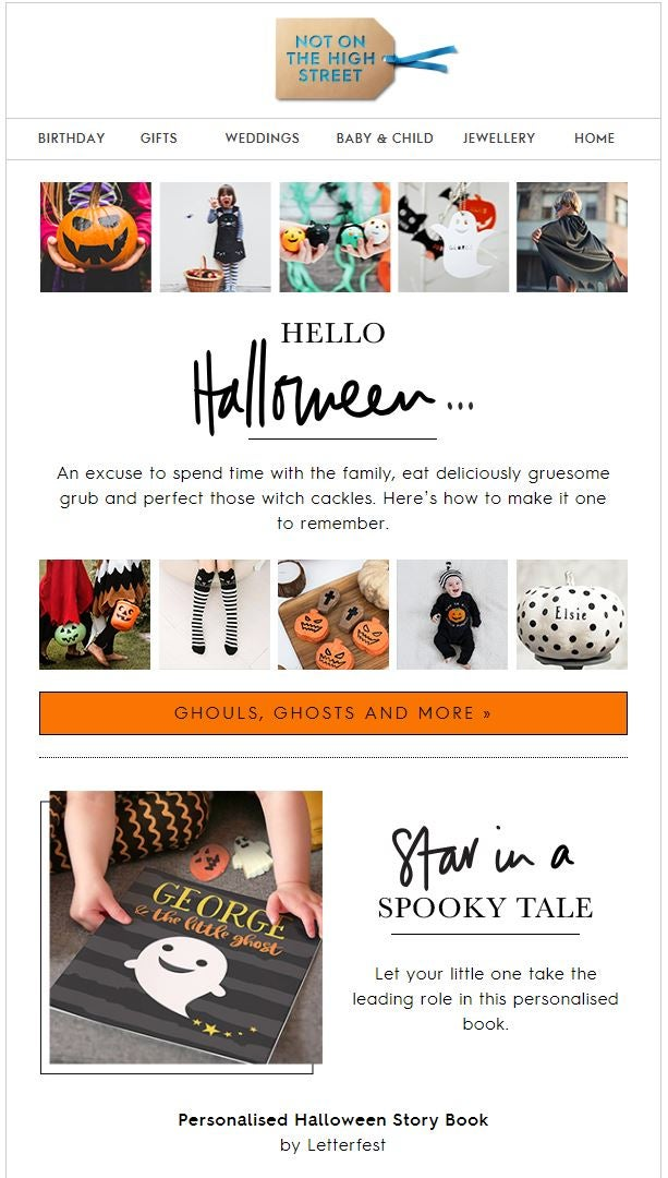 Use a Halloween-inspired colour scheme in your email