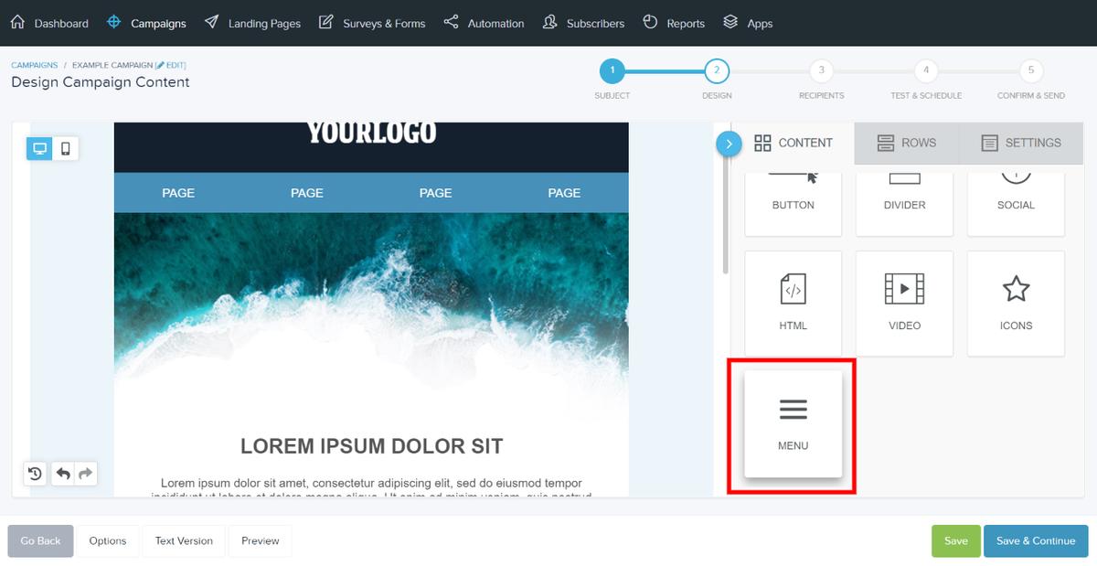 New menu content block
