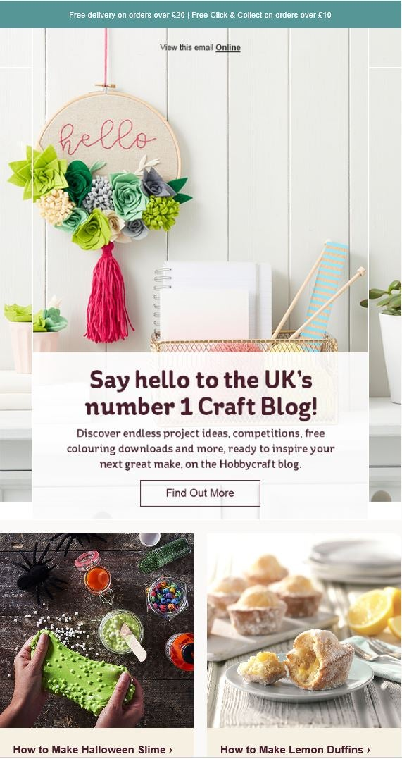 Hobbycraft lead nurturing email example
