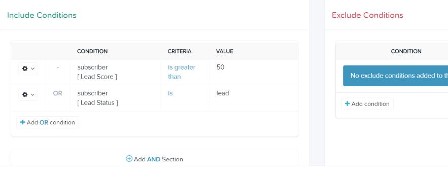 Lead scoring segment example