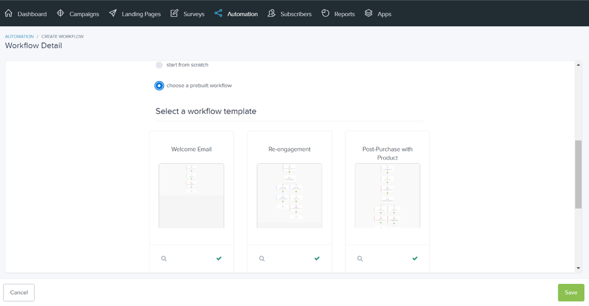 Build your workflow from scratch or start with a workflow template