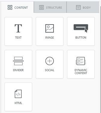 Landing page design editor content blocks