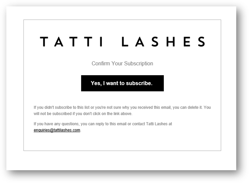 Tatti Lashes email example