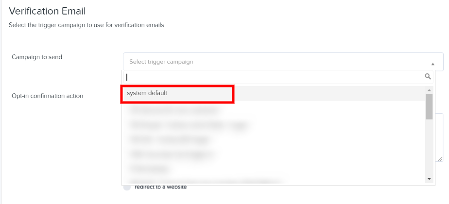 Select the system default trigger email