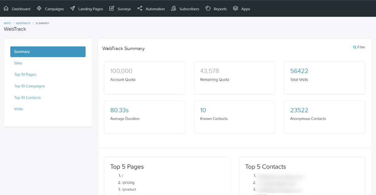 Webtrack summary report