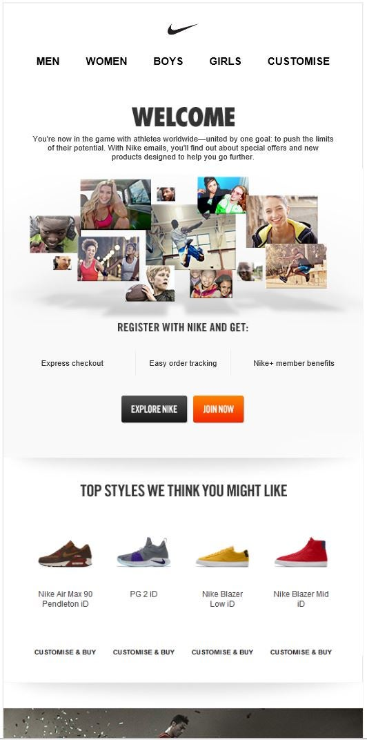 Nike welcome email example