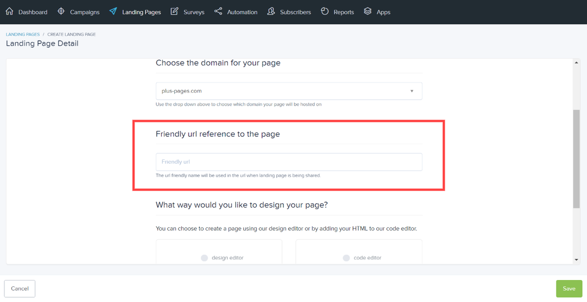 Enter a friendly URL for your landing page