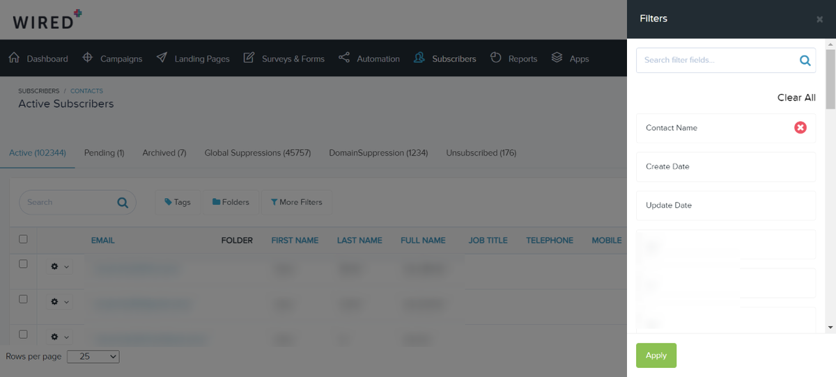 listing page updates - apply filters