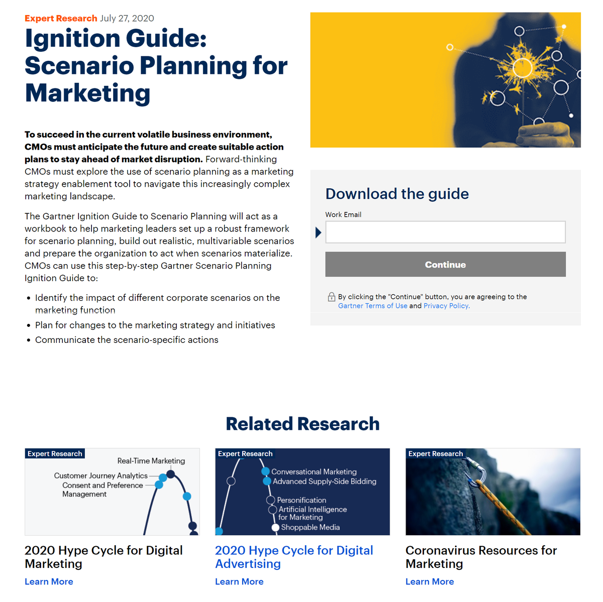 Lead generation landing page example from Gartner