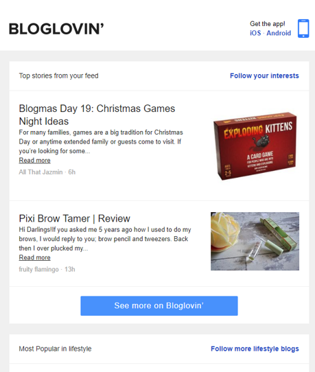 Bloglovin f-shaped pattern email example