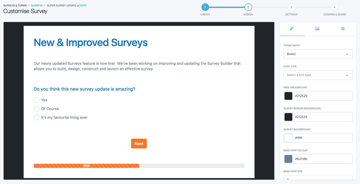 Using the Survey Builder