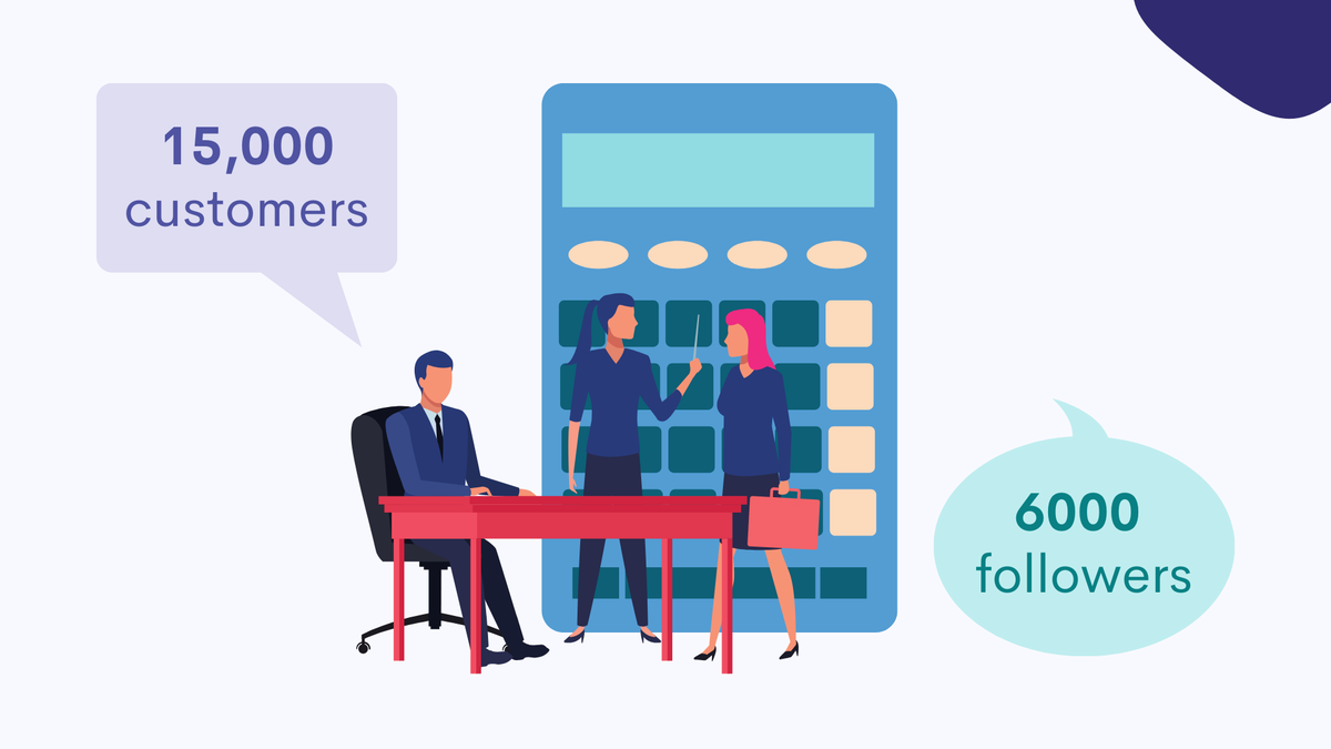 Include customer numbers or social media followers in your emails