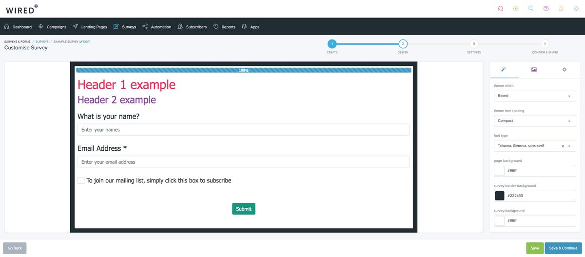 Customise your survey design