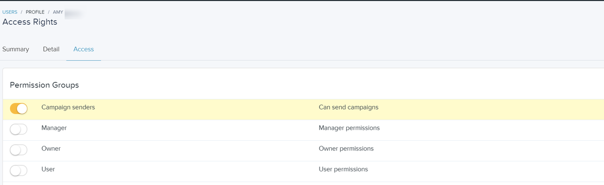 Select the permission group(s) you want to add the user to