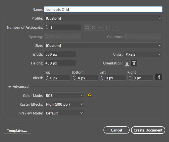 Step 1 to Create Isometric Grid Image