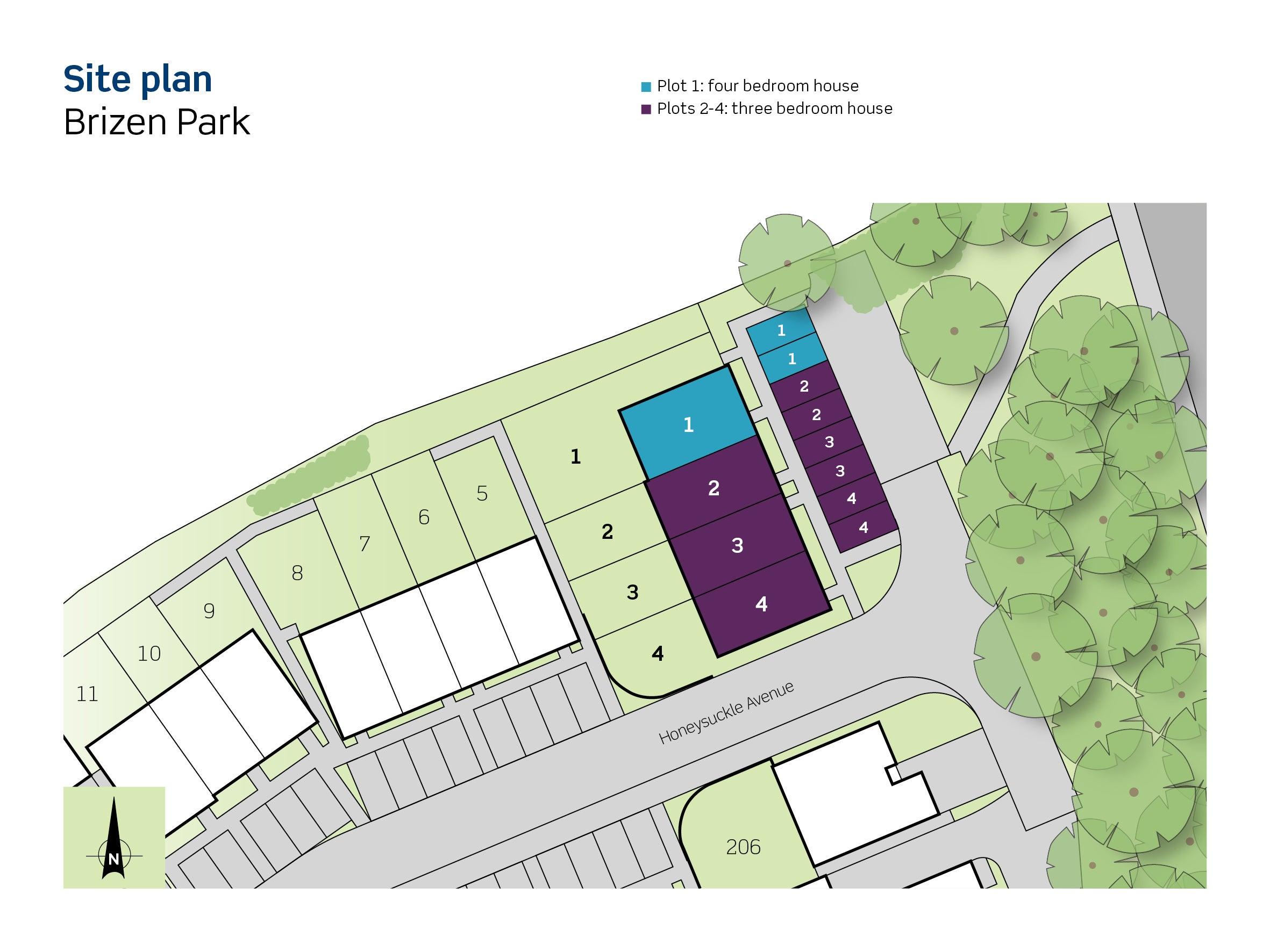Brizen Park, site plan (plot 1 - 4)