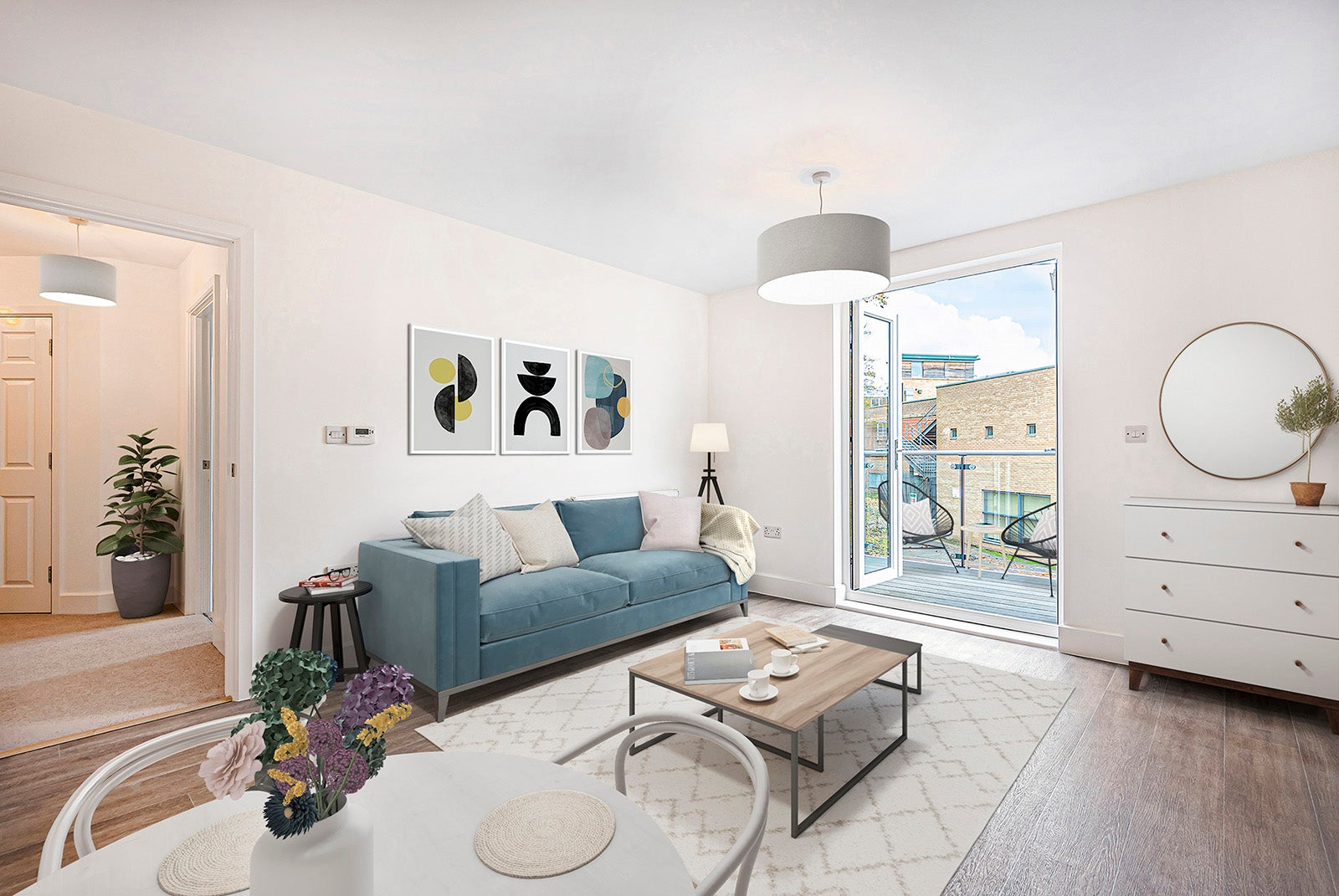 Wilkins Court - living area with balcony (specific plots)